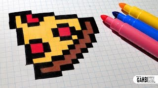 Handmade Pixel Art - How To Draw Easy Pizza #pixelart