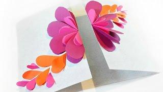 Handmade Card For Birthday, Folded Heart Floral Card Tutorial Die Cut Heart Cards Flowers