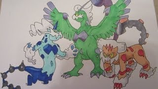 How to draw Pokemon: No.641 Tornadus, No.642 Thundurus, No.645 Landorus