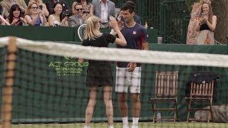 Djokovic Makes a Great Ball Girl!