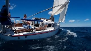 """Sailing """"Thanks Dad"""" 5-June-2016 - Fast sailing to 8.1 knots.  Winds gusting to 29 and a wet deck"""