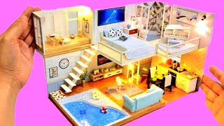 4 DIY MINIATURE DOLLHOUSE ROOMS~CINDERELLA MODERN DOLLHOUSE with SWIMMING POOL