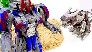 Трансформеры - Оптимус нашёл робота Динозавра! - Игры для мальчиков.