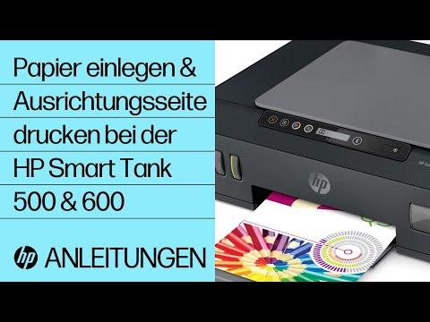 Einlegen von Papier und Drucken einer Ausrichtungsseite bei Geräten der HP Smart Tank 500 und 600 Druckerserie