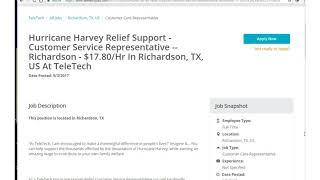 One Job Minute: Make $17/hr Helping Hurricane Harvey Victims
