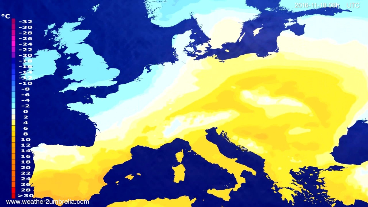Temperature forecast Europe 2016-11-15