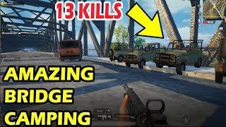 PUBG MOBILE | AMAZING BRIDGE CAMPING | 13 KILLS | SOLO VS SQUAD WINNER