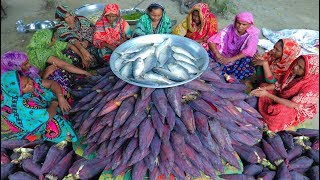 200 Banana Blossoms Collected From Banana Garden & Hilsa Fish Mixed Yummy Mashed Cooking By Women