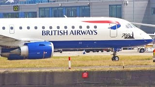 preview picture of video 'Plane Spotting at London City Airport - Part 2 - BA CityFlyer E190 Cityjet Luxair [1080p HD]'