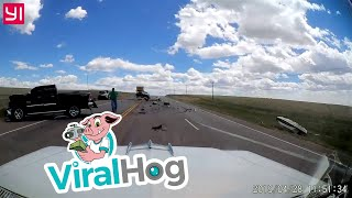 Man Swerves to Avoid Car that Causes Head-On Collision || ViralHog