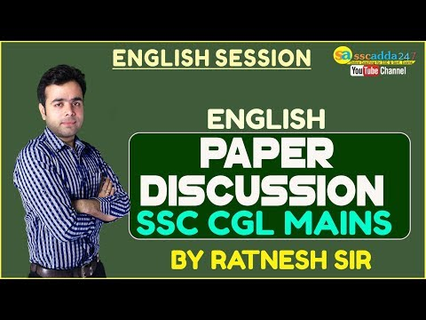 SSC CGL MAINS 2017 -18 ENGLISH PAPER DISCUSSION BY RATNESH SIR