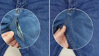 Wie man ein Loch auf Jeans zwischen den Beinen näht. Reparatur Jeans.