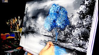"""""""No One Else"""" -  blue tree, acrylic, abstract, landscape painting by Dranitsin"""