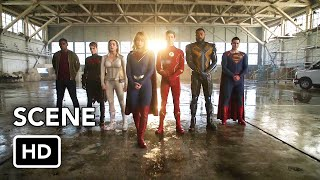 "Сериалы CW, DCTV Crisis on Infinite Earths Crossover ""Justice League"" Scene (HD) Hall of Justice"