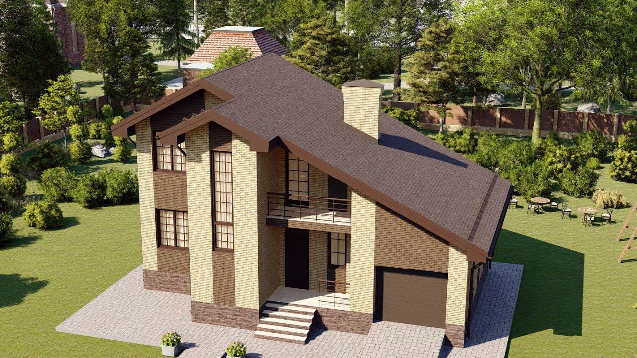 Двухэтажный дом с гаражом под общей крышей