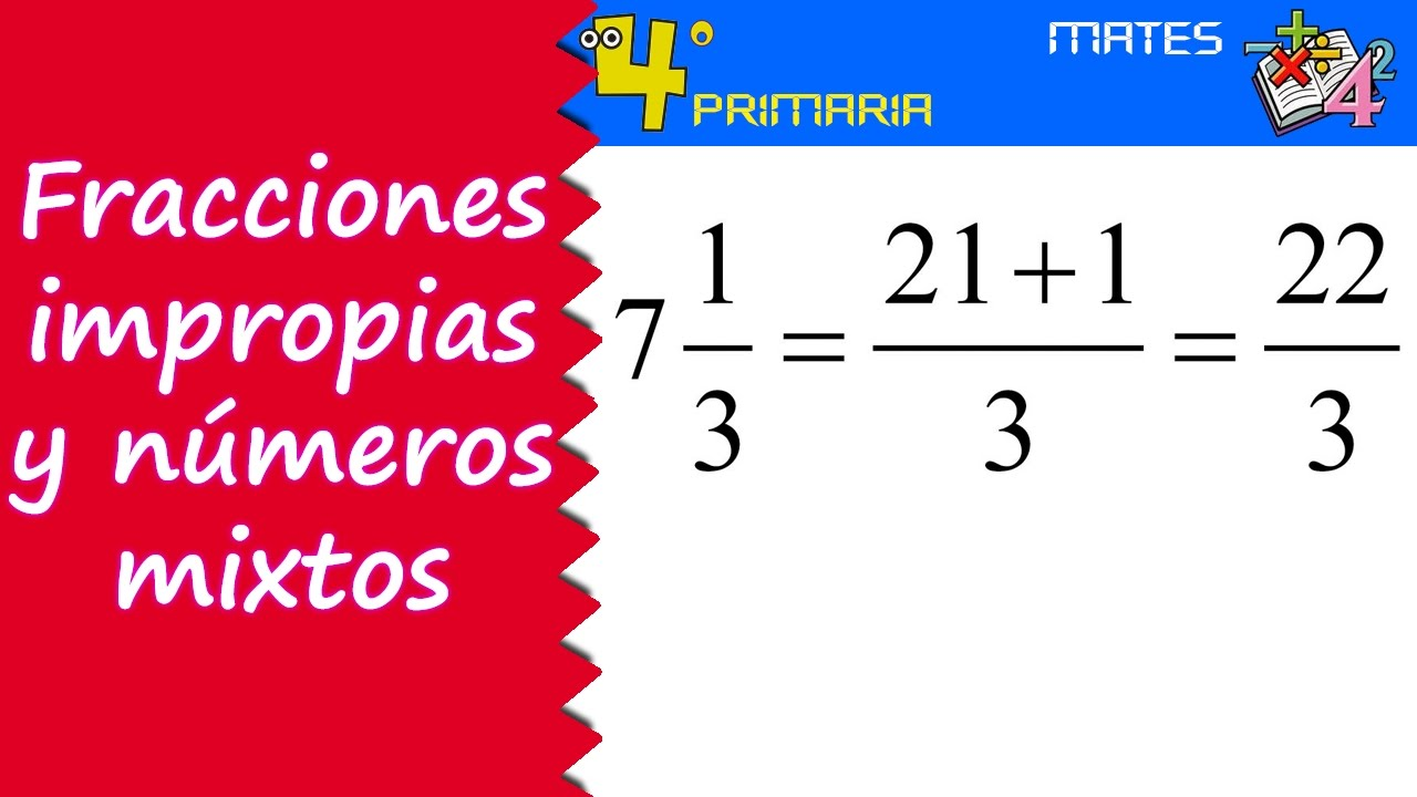 Matemáticas. 4º Primaria. Tema 11. Números mixtos y fracciones impropias