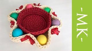 Пасхальная корзинка крючком из трикотажной пряжи. Easter basket crochet