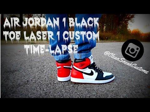 24821bae4 ... Air Jordan 1 Black Toe Laser 1 Custom Time-Lapse! RE-UPLOAD