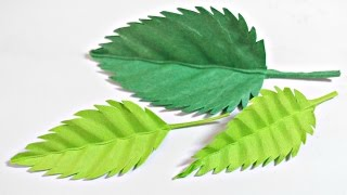 Paper leaf (Rose leaves) diy design craft making tutorial easy cutting from paper step by step