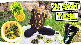 24 SAAT BOYUNCA TEK RENK HERŞEY YEŞİL !!!  ( Yeşil Pankek Nasıl Yapılır - Yeşil Patates Kızartması )