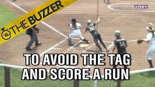 Army softball player jumps over catcher like it's no big deal, scores run by @The Buzzer