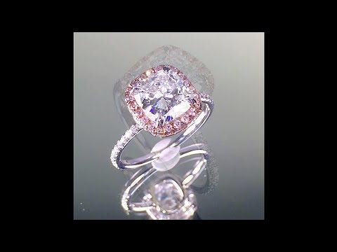 2 ct Cushion cut Diamond Engagement Ring in Pink Diamond Platinum Halo