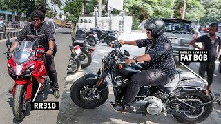 Harley Davidson and RR310 Test driving