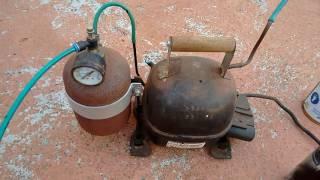 COMPRESSOR CASEIRO - ( compressor with refrigerator motor) DEMONSTRAÇÃO DE USO