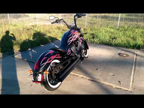 2014 Victory Highball Exhaust before and after