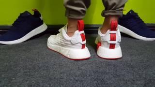 su piedi adidas nmd nmd nmd r2 pk bianco / rosso più popolare video 5bc439