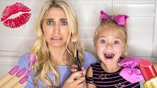 4 YEAR OLD DAUGHTER DOES MOMMY'S MAKEUP!!!