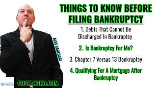 THINGS TO KNOW BEFORE FILING BANKRUPTCY