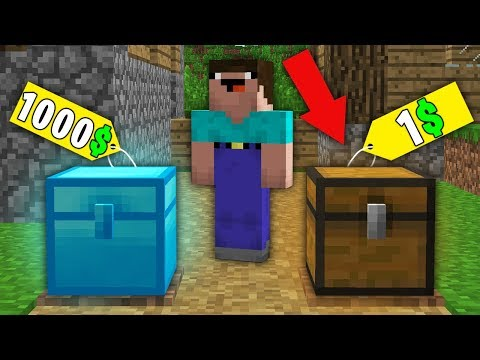 Minecraft NOOB vs PRO : NOOB BOUGHT DIAMOND CHEST FOR 1000$ VS CHEST FOR 1$! Challenge 100% trolling