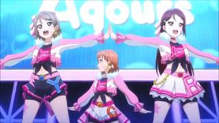 Aqours Miracle Wave but every time they wink it's the future, zura