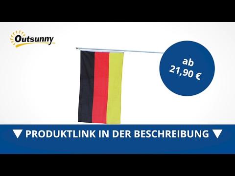 Outsunny Alu Fahnenmast Flaggenmast Deutschlandfahne Deutschland Flagge 4m - direkt kaufen!