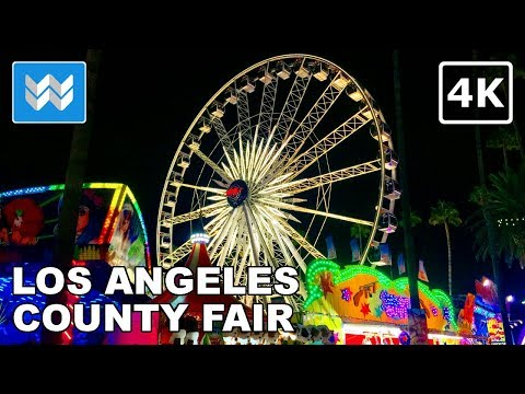 Walking tour of LA County Fair 2018 at night in Pomona, California 【4K】