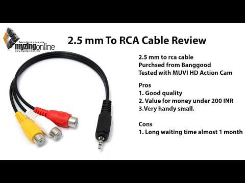 2.5 mm Male to 3 RCA Cable Extension in English - Banggood