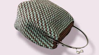 Mel C Bags Handmade / Pochette LUNETTA Punto Canestro Doppio Obliquo Bicolore