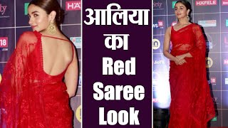 Alia Bhatt graces at REEL Movie Awards 2019 in Red sheer saree by Sabyasachi | Boldsky