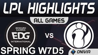EDG vs IG Highlights ALL GAMES LPL Spring 2020 W7D5 Edward Gaming vs Invictus Gaming by Onivia