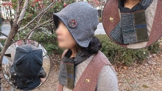 DIY 퀼트 울자수 모자 목도리 만들기│Patchwork Embroidery Wool Reversible Hat Scarf│How To  Make Crafts Tutorial