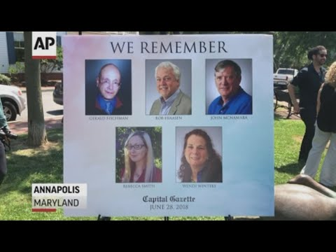 Journalists gathered in Annapolis, Maryland, for a memorial for the five Capital Gazette employees who were shot to death in their newsroom last year. (June 28)