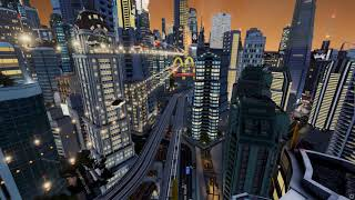 Futuristic city in Cities Skylines game: Flying cars and Fifth Element atmosphere