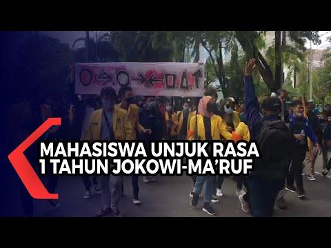 satu tahun kepemimpinan jokowi-ma ruf mahasiswa di kalsel berunjuk rasa