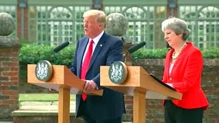 President Trump and Prime Minister Theresa May joint news conference. July 13, 2018