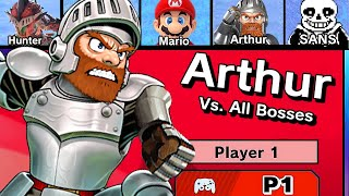 Sir Arthur Vs. All Bosses in Super Smash Bros Ultimate + Ending (2 Hits Only Challenge / No Damage)