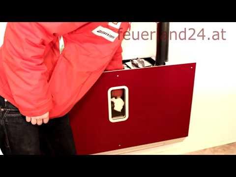 Wandmontage Pelletofen von feuerland24.at mit Rauchgasfilter Pelletsofen Ofen Pelletkamin 7-11,5kW