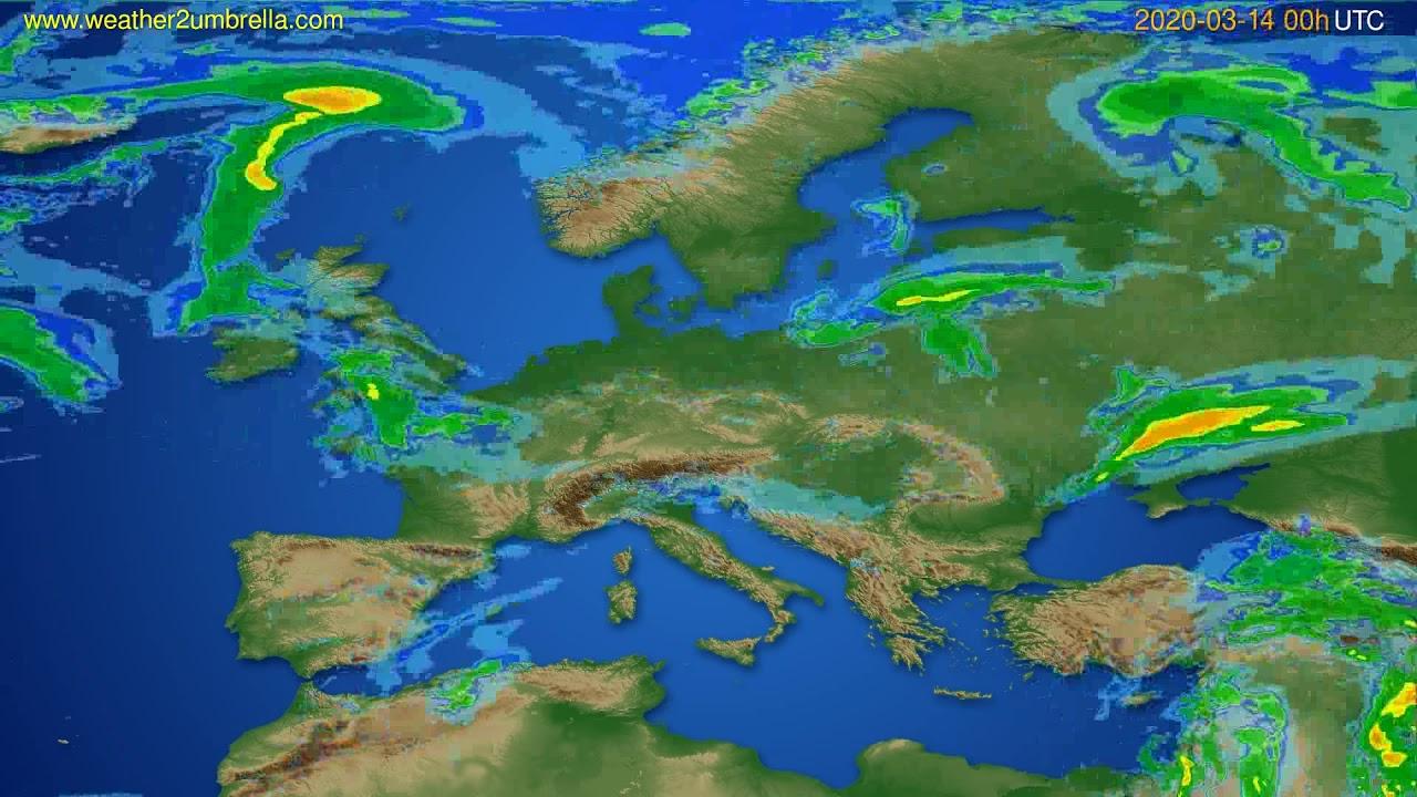 Radar forecast Europe // modelrun: 12h UTC 2020-03-13