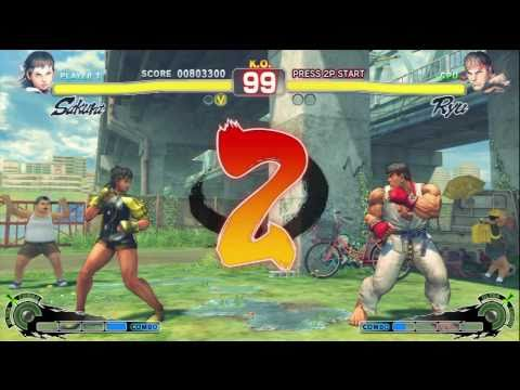 Super Street Fighter 4 - Xbox 360 - Sakura Gameplay (Arcade Mode)