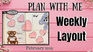 New Weekly Layout : 2 Teddy Bears | February 2019 Bullet Journal Valentine's Theme